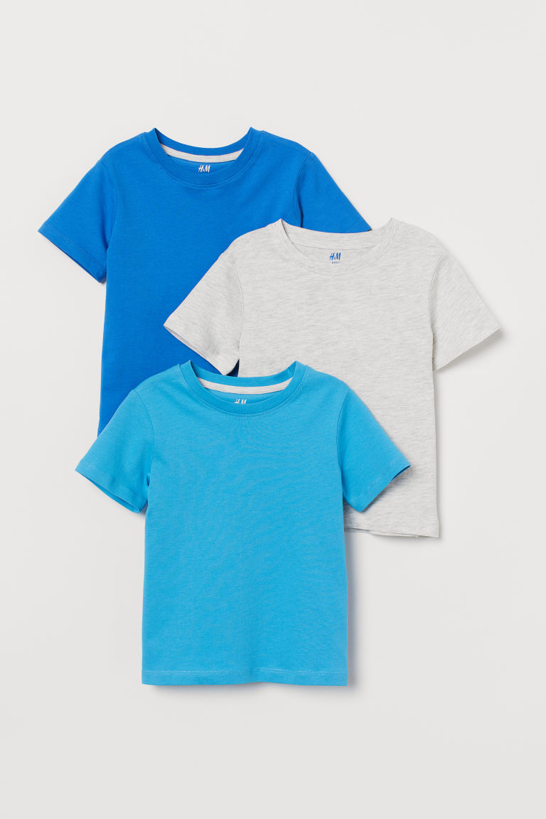 3-pack T-shirts - Blue/light gray melange - Kids | H&M US