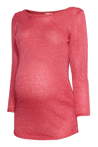 MAMA Jumper with sequins - Coral/Sequins -  | H&M IE