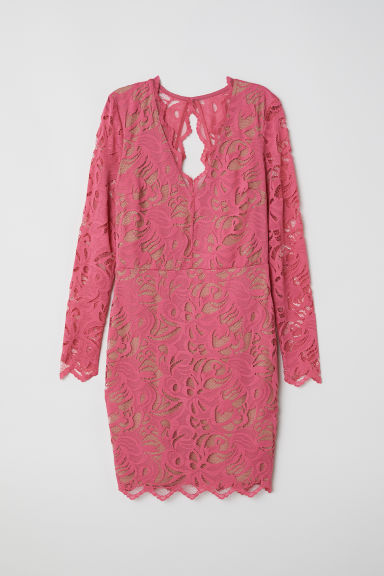 Fitted lace dress - Pink -  | H&M
