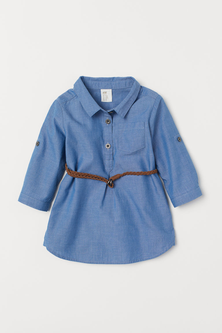 Dress with a belt - Blue - Kids | H&M