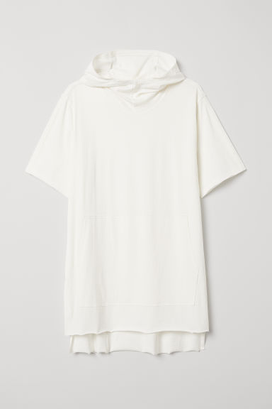 Short-sleeved hooded top - Black/White - Men | H&M