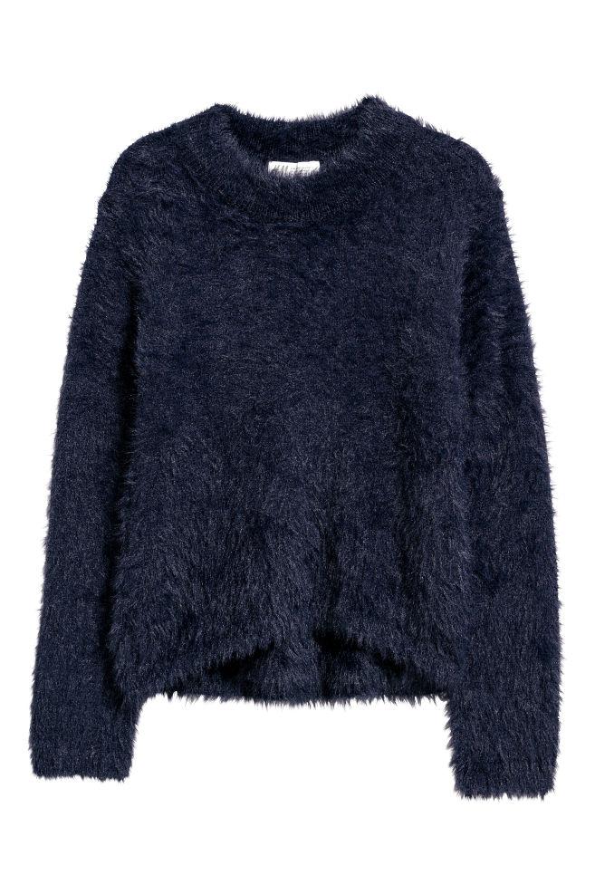 5506d0f5c Camisola em malha com pelo - Azul escuro - CRIANÇA