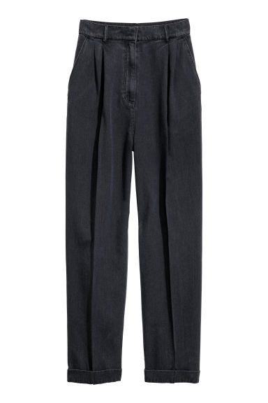 Wide trousers - Black/Washed out - Ladies | H&M
