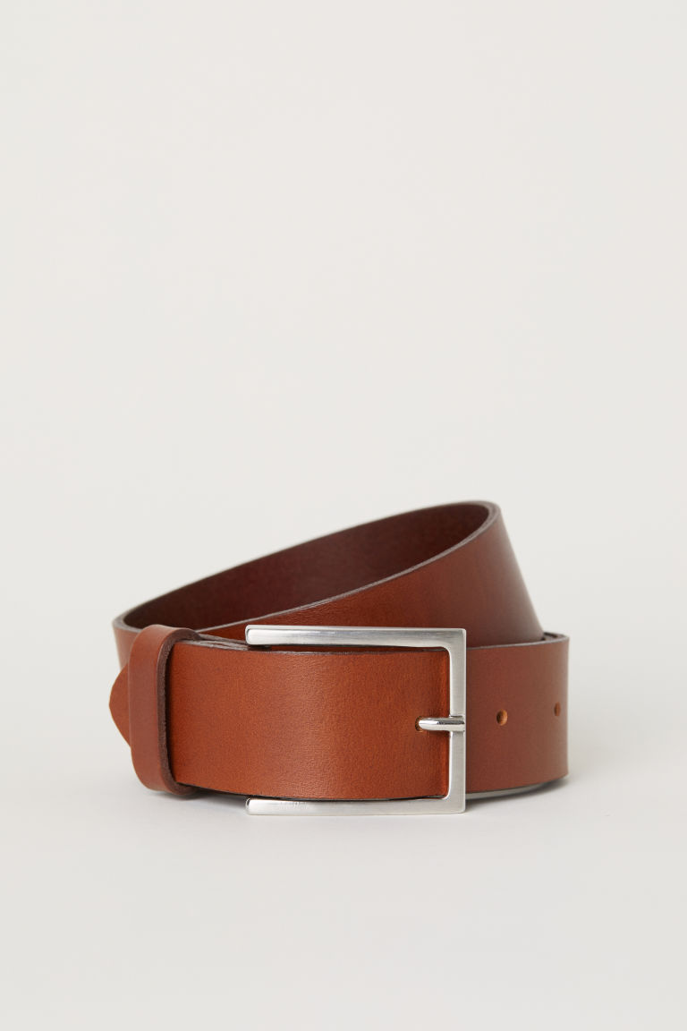 Leather belt - Dark rust red -  | H&M CN