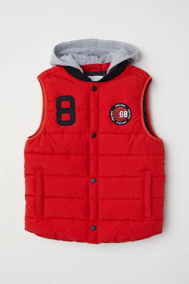 Padded gilet with a hood - Red - Kids | H&M CN