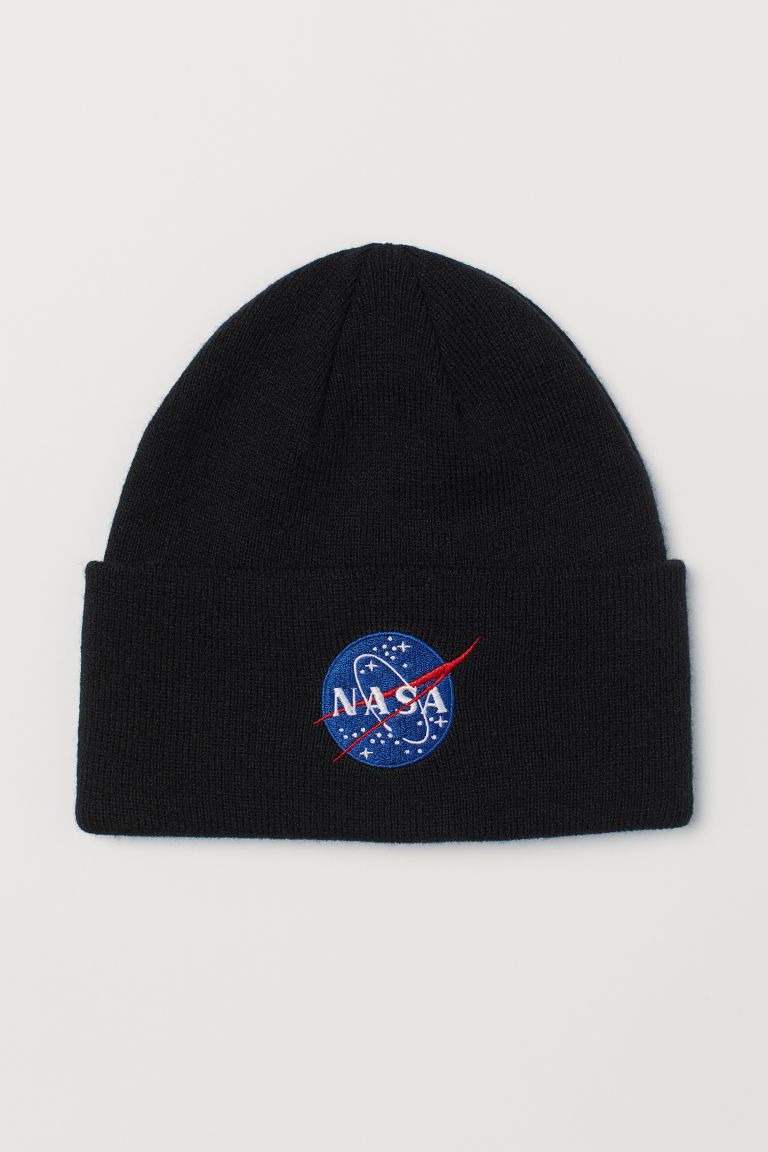 Fine-knit hat - Black/NASA - Men | H&M