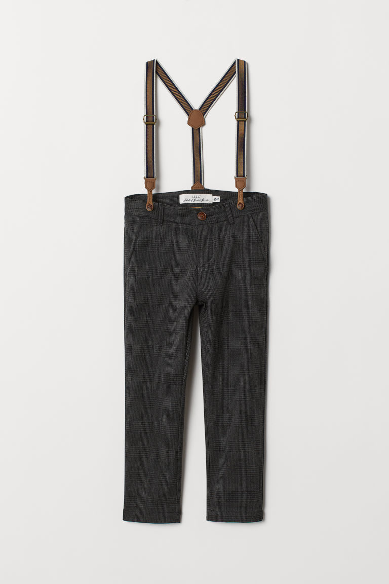 Trousers with braces - Dark grey/Checked -  | H&M