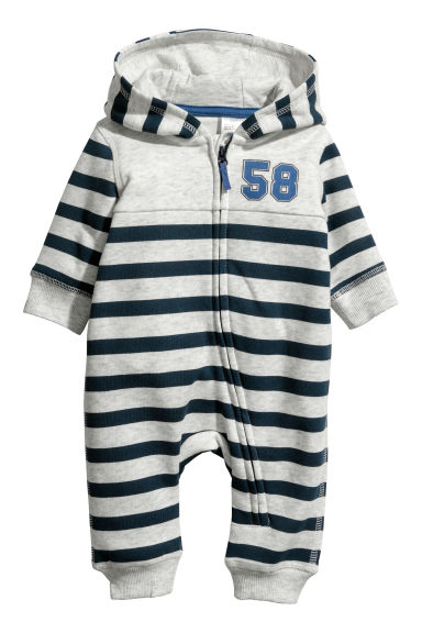 Sweatshirt all-in-one suit - Grey marl/Blue striped - Kids | H&M CN