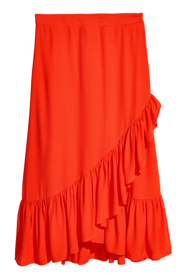Gonna al polpaccio con volant - Arancione - DONNA | H&M IT