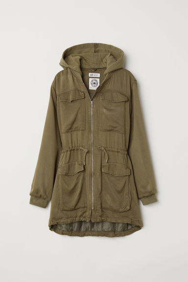 Viscose parka - Dark khaki green - Kids | H&M CN