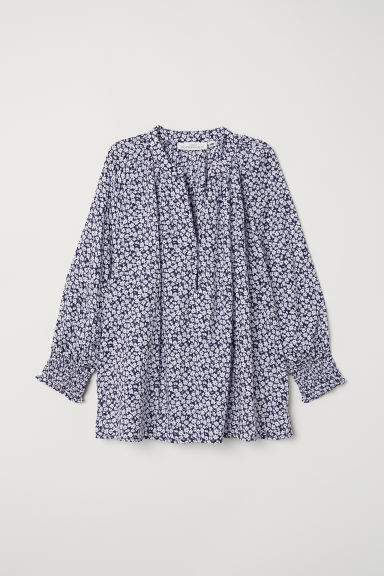 V-neck modal blouse - Dark blue/White floral - Ladies | H&M CN