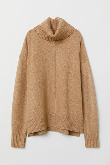 Knitted polo-neck jumper - Beige/Marled - Ladies | H&M