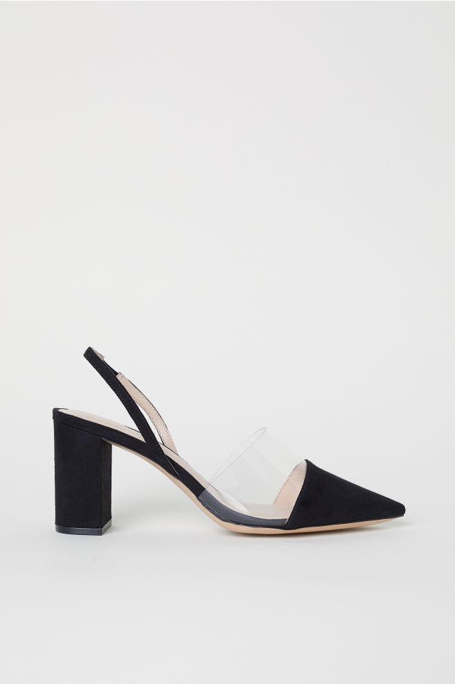 Block-heel slingbacks - Black - Ladies