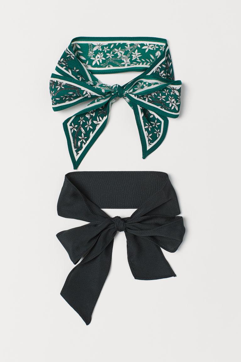 Pack de 2 cintas de pelo - Verde oscuro/Negro - MUJER | H&M ES 1