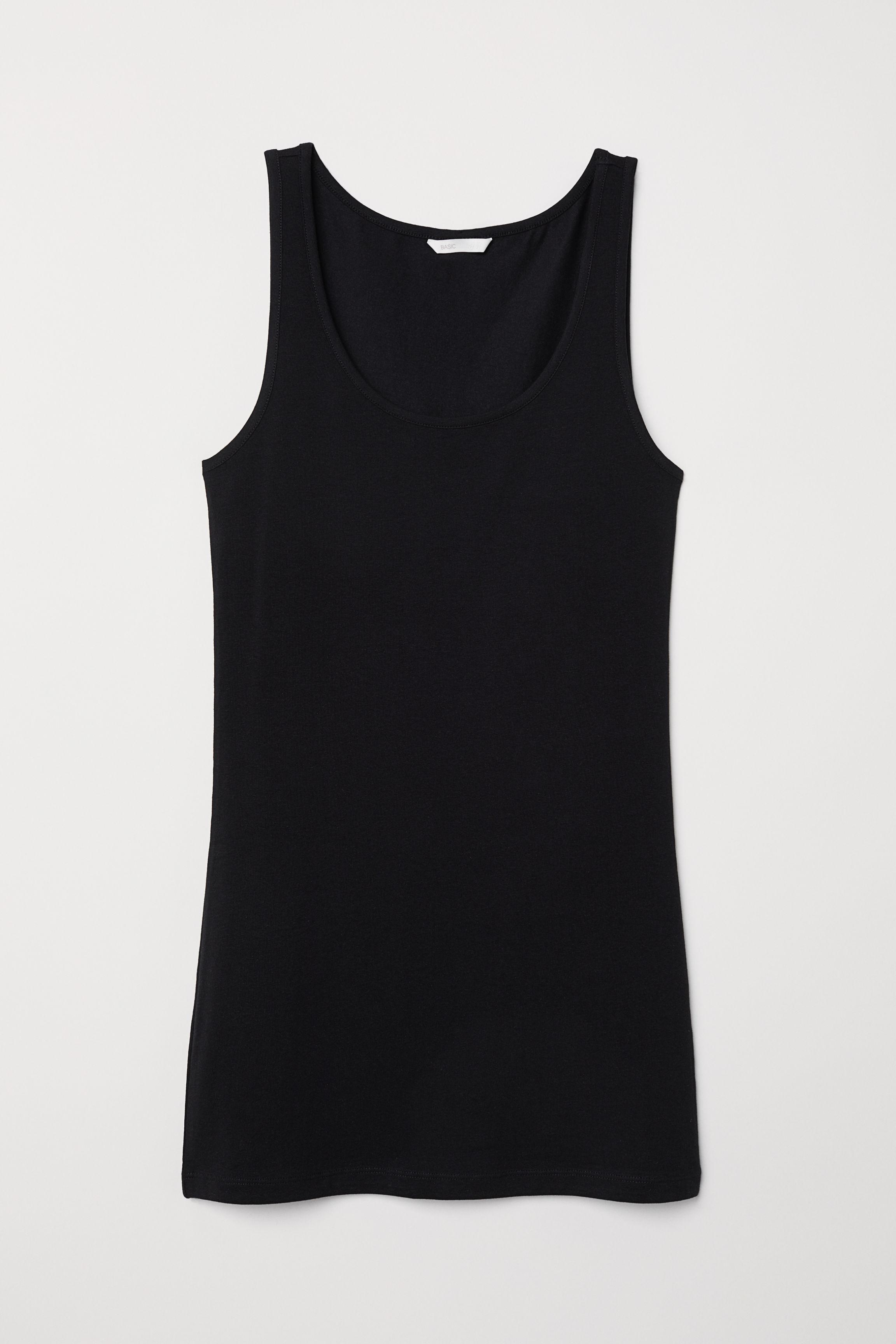 698238035ab712 Long Jersey Tank Top - Black - Ladies