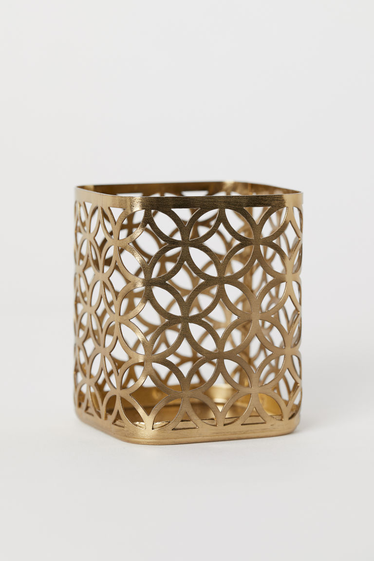 Metal tealight holder - Gold-coloured -  | H&M CN