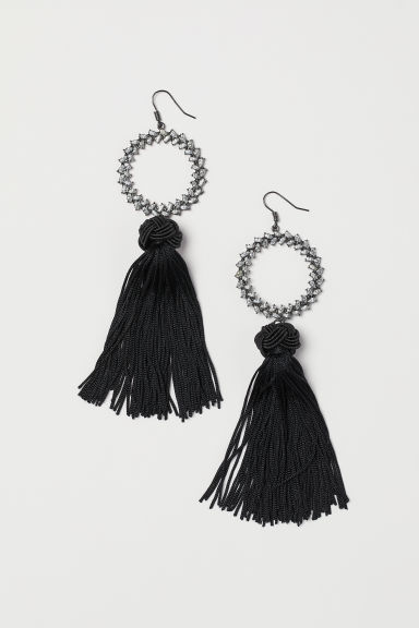 Tasselled earrings - Black - Ladies | H&M