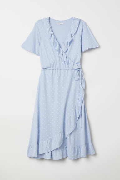 MAMA Wrap dress - Light blue/Spotted - Ladies | H&M CN