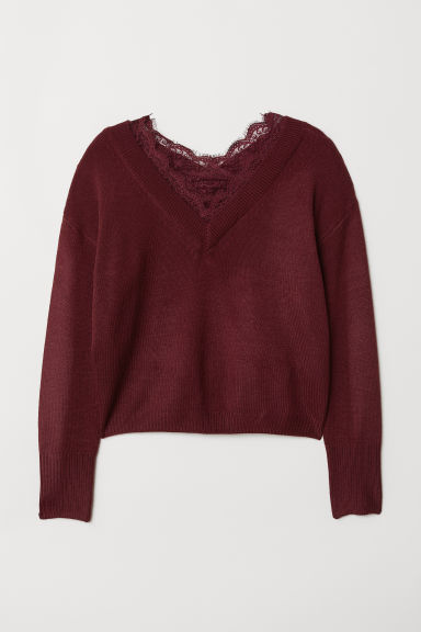 Lace-trimmed Sweater - Burgundy -  | H&M US