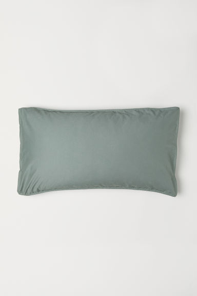 Washed cotton pillowcase - Khaki green - Home All | H&M CN