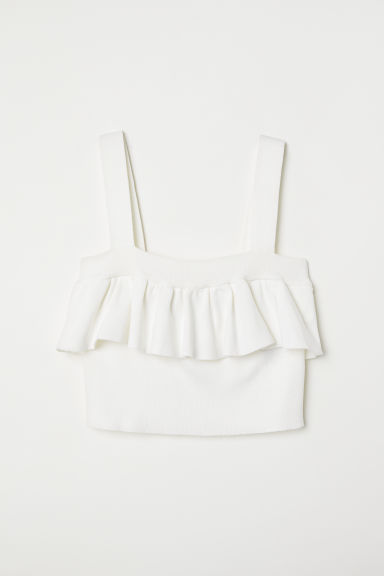 Short Top with Flounce - White - Ladies | H&M CA