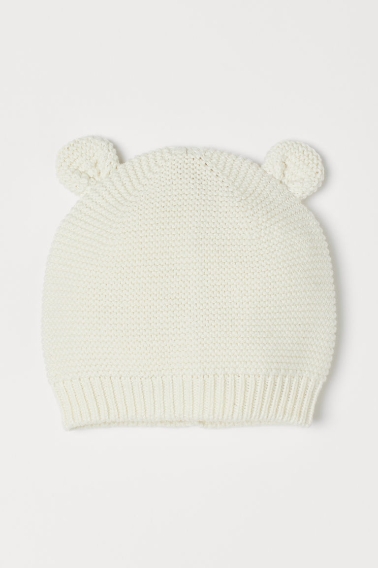 Garter-stitched Hat with Ears - Natural white - Kids | H&M US