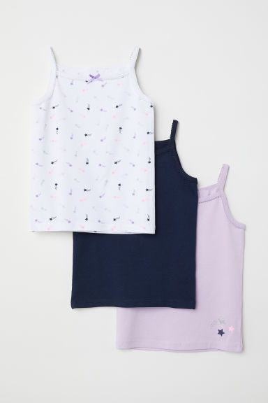 3-pack jersey strappy tops - Light purple/Stars - Kids | H&M