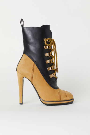 Ankle boots with lacing - Black/Ochre - Ladies | H&M CN