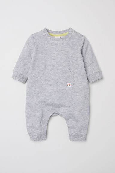 Romper suit with a motif - Grey marl - Kids | H&M CN