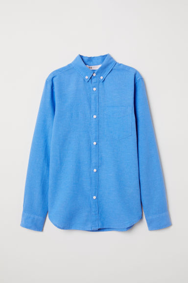 Linen-blend shirt - Blue - Kids | H&M