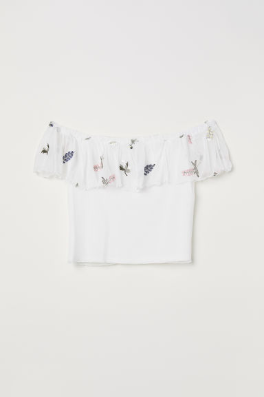 H&M+ Off-the-shoulder top - White/Flowers - Ladies | H&M