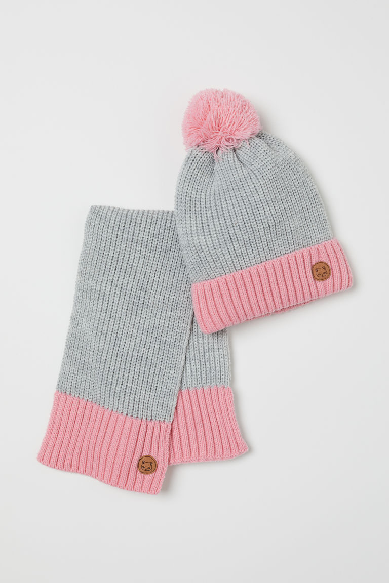 Rib-knit hat and scarf - Light grey/Pink - Kids | H&M
