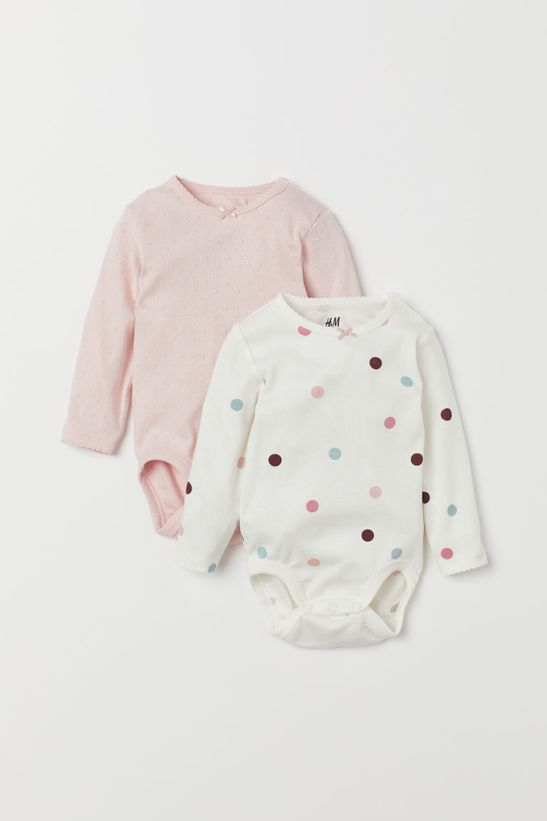 2-pack Long-sleeved Bodysuits - White/dotted - Kids | H&M US