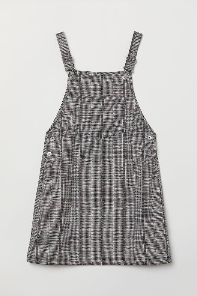 418cf1dee94 Bib Overall Dress - Dark gray checked -