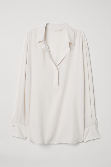 Cupro-blend shirt - Cream - Ladies | H&M