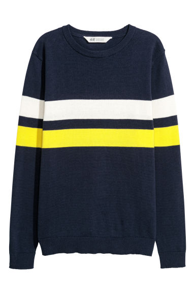 Fine-knit jumper - Dark blue/Striped - Kids | H&M