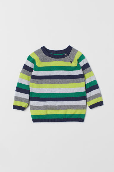 Fine-knit jumper - Yellow/Striped - Kids | H&M CN