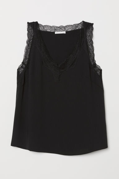 Top with lace - Black - Ladies | H&M