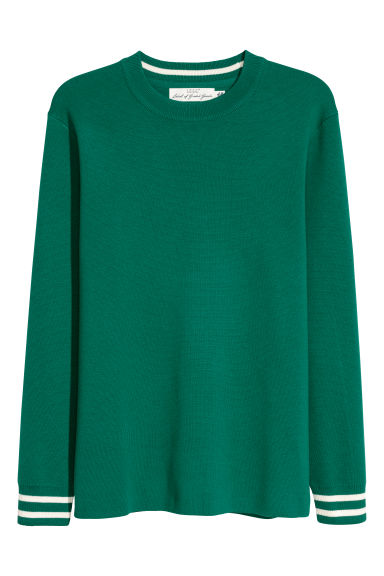 Fine-knit jumper - Green -  | H&M CN