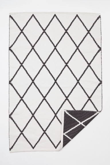 Jacquard-weave cotton rug - White/Black patterned - Home All | H&M GB