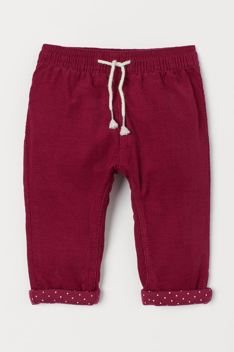 Lined corduroy trousers - Dark pink - Kids | H&M