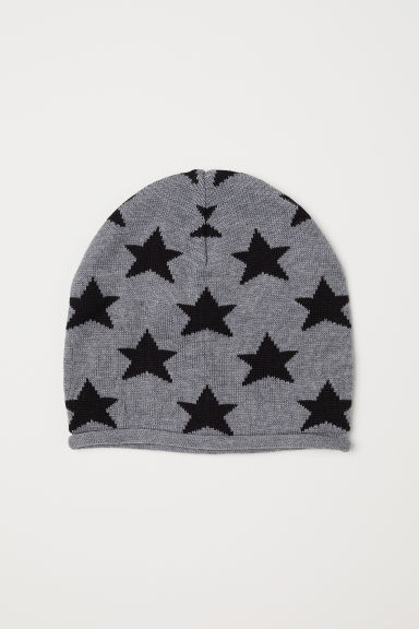 Fine-knit hat - Dark grey marl/Stars -  | H&M CN