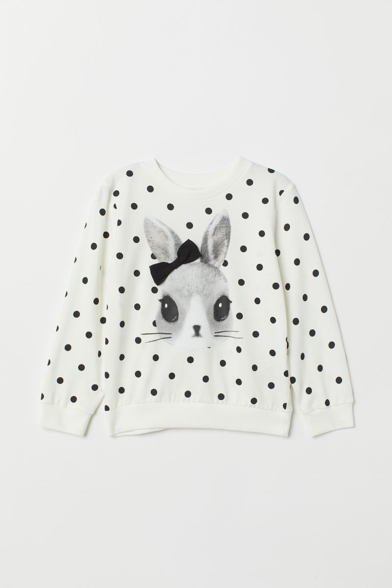 Appliquéd jersey top - White/Rabbit - Kids | H&M CN