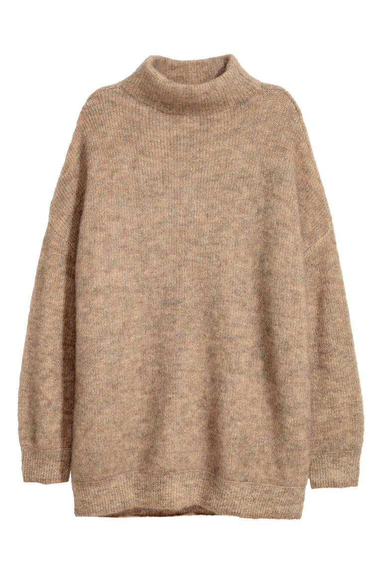 Knitted mohair-blend jumper - Camel - Ladies | H&M GB
