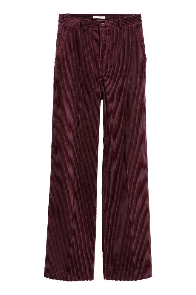4a37a0233402 Pantaloni ampi velluto a coste - Bordeaux - DONNA | H&M ...