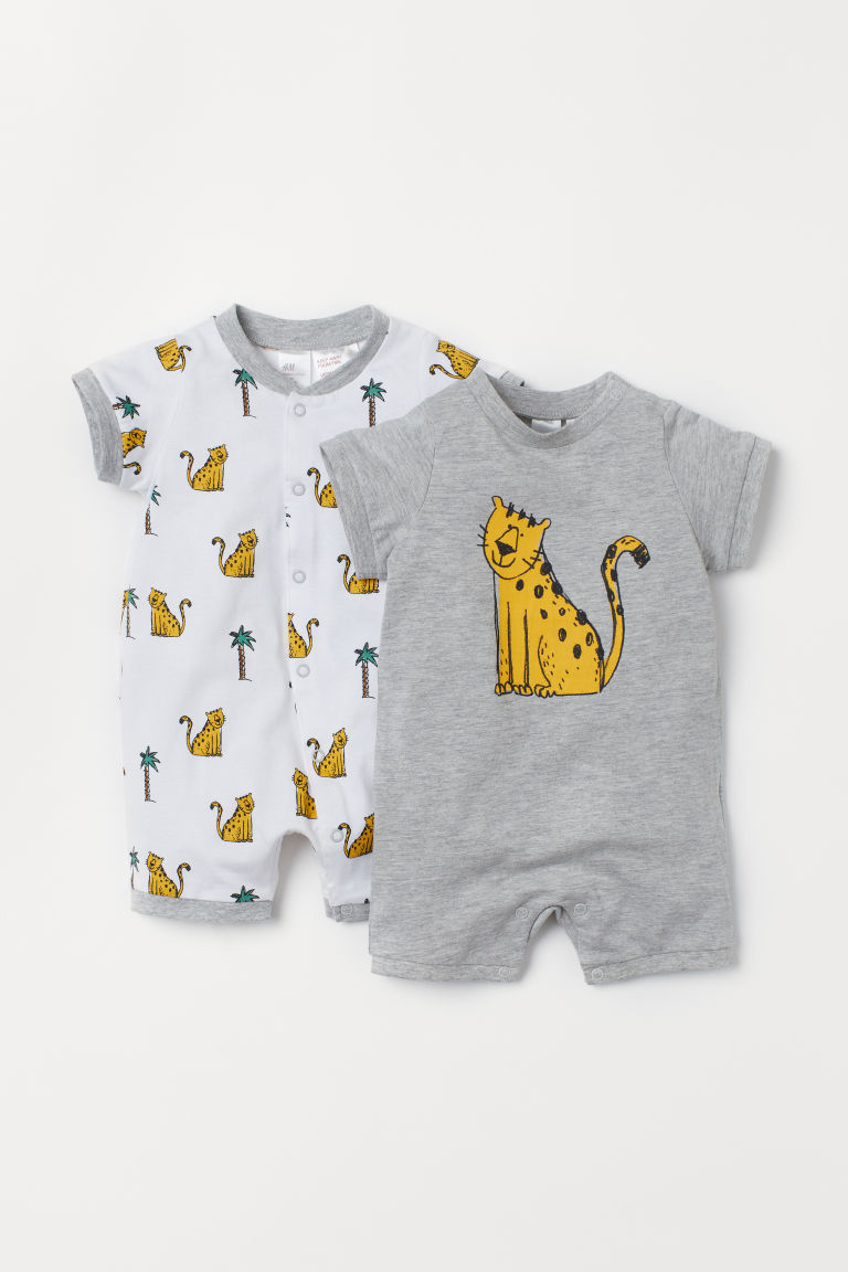 2-pack cotton pyjamas - Grey marl/Leopard - Kids | H&M CN