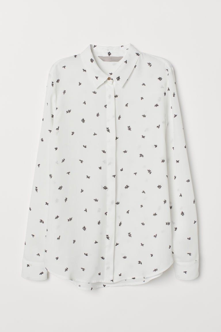 Long-sleeved blouse - White/Leaf-patterned - Ladies | H&M GB