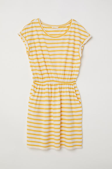 Jersey Dress - White/yellow striped - Ladies | H&M CA