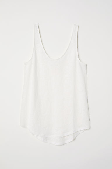 Linen jersey top - White - Ladies | H&M