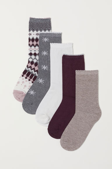 5-pack socks - Pink/Patterned - Ladies | H&M